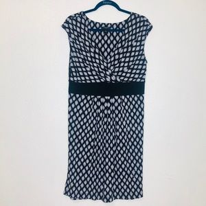 Ann Taylor Black Dot Print Midi Dress